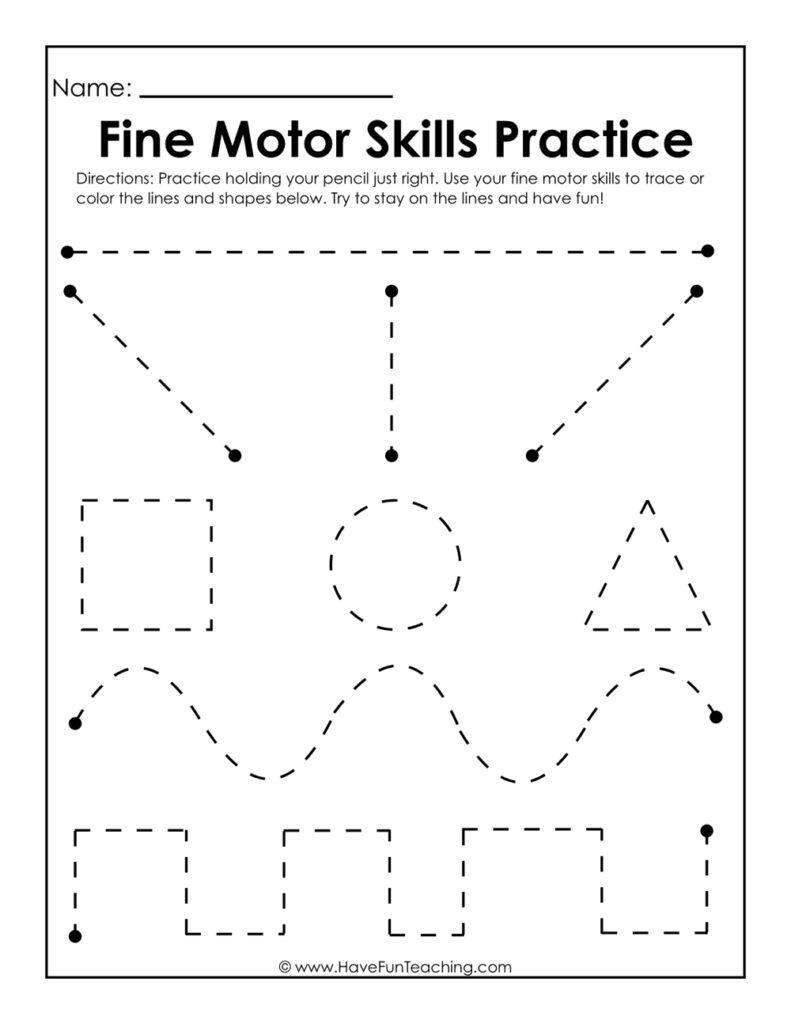 Worksheet ~ Worksheet Fine Motor Skills Practice Tracing