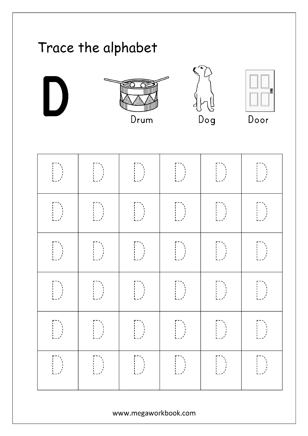 Worksheet ~ Worksheet Free Printable For Preschool Kids Clip intended for Alphabet D Tracing