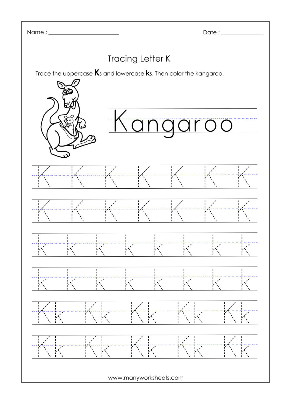 Worksheet ~ Worksheet Letter K Tracing Worksheets For