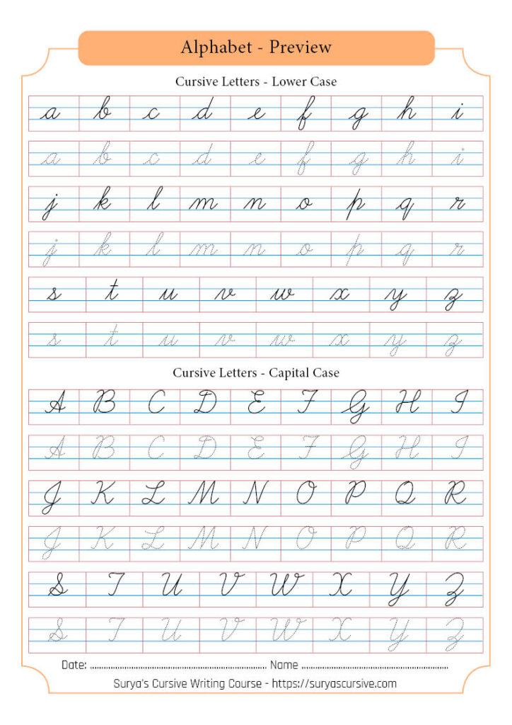 Worksheets : Cursive Letters Suryascursive Alphabetpreview