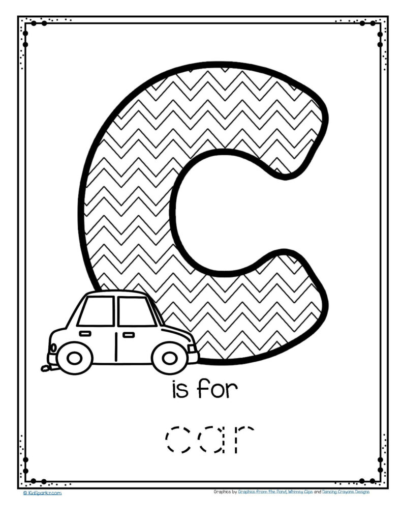Worksheets : Free Is For Car Trace And Color Printable