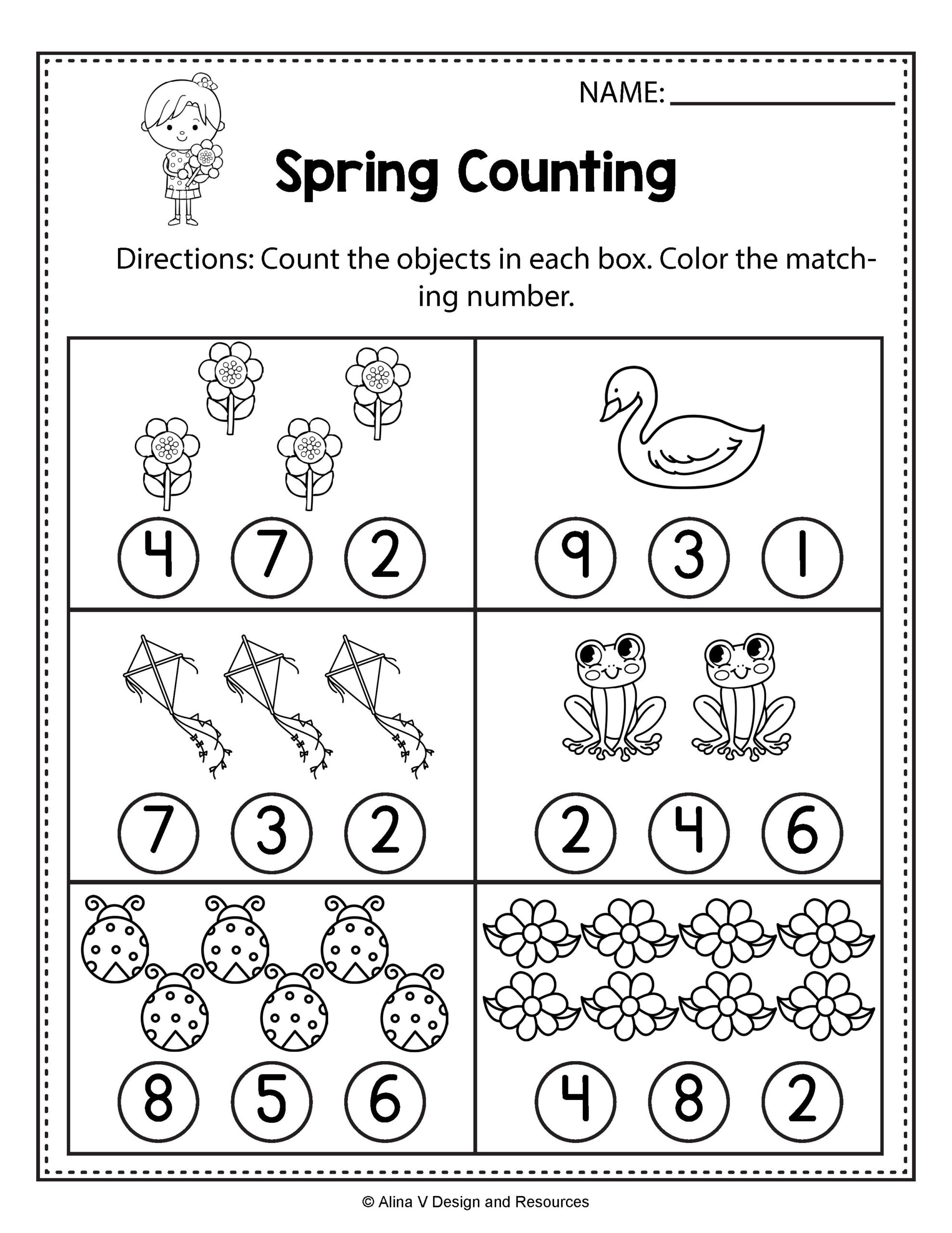 Worksheets : Spring Counting Math Worksheets And Write
