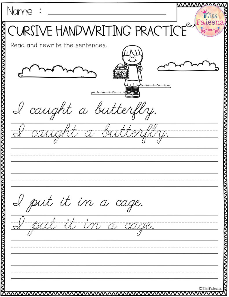 Worksheets : Spring Cursive Handwriting Practice Writing For