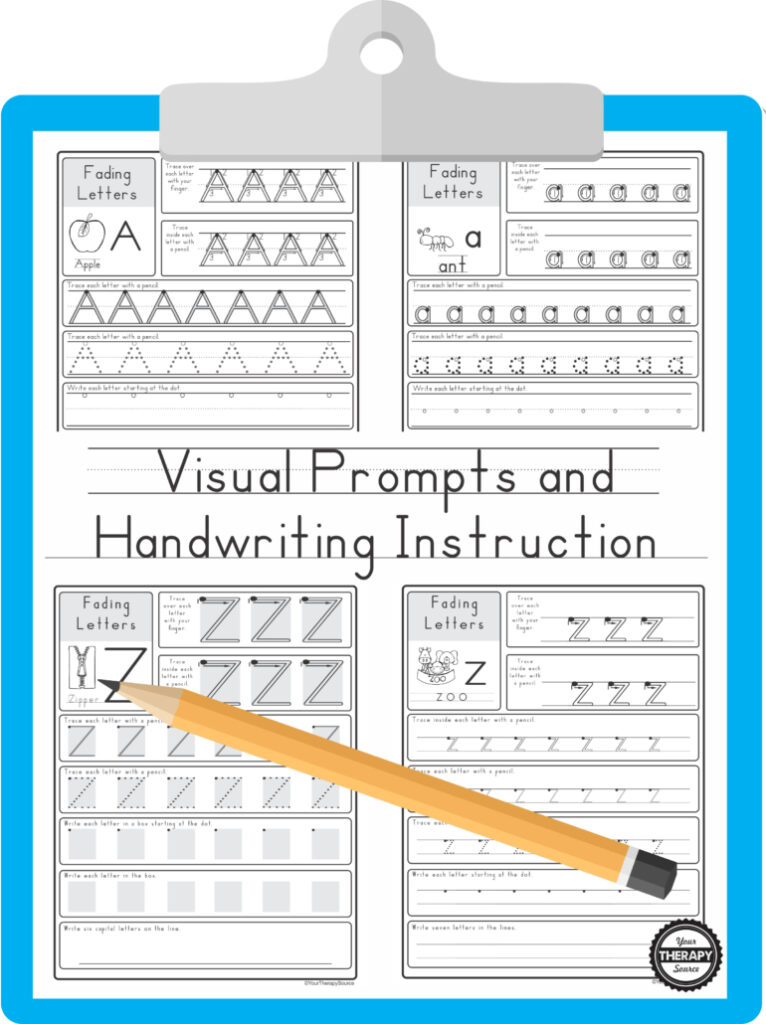 Worksheets : Visual Prompts And Handwriting Instruction Inside Letter Tracing Resources