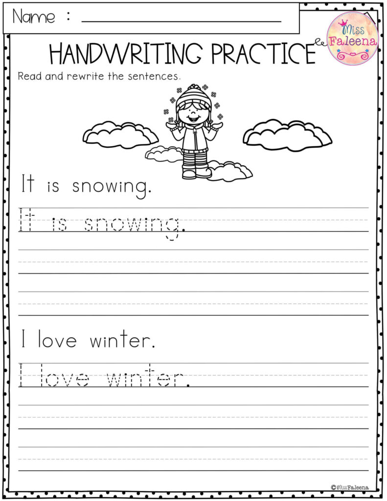 Worksheets : Winter Handwriting Practice Writing Sentences