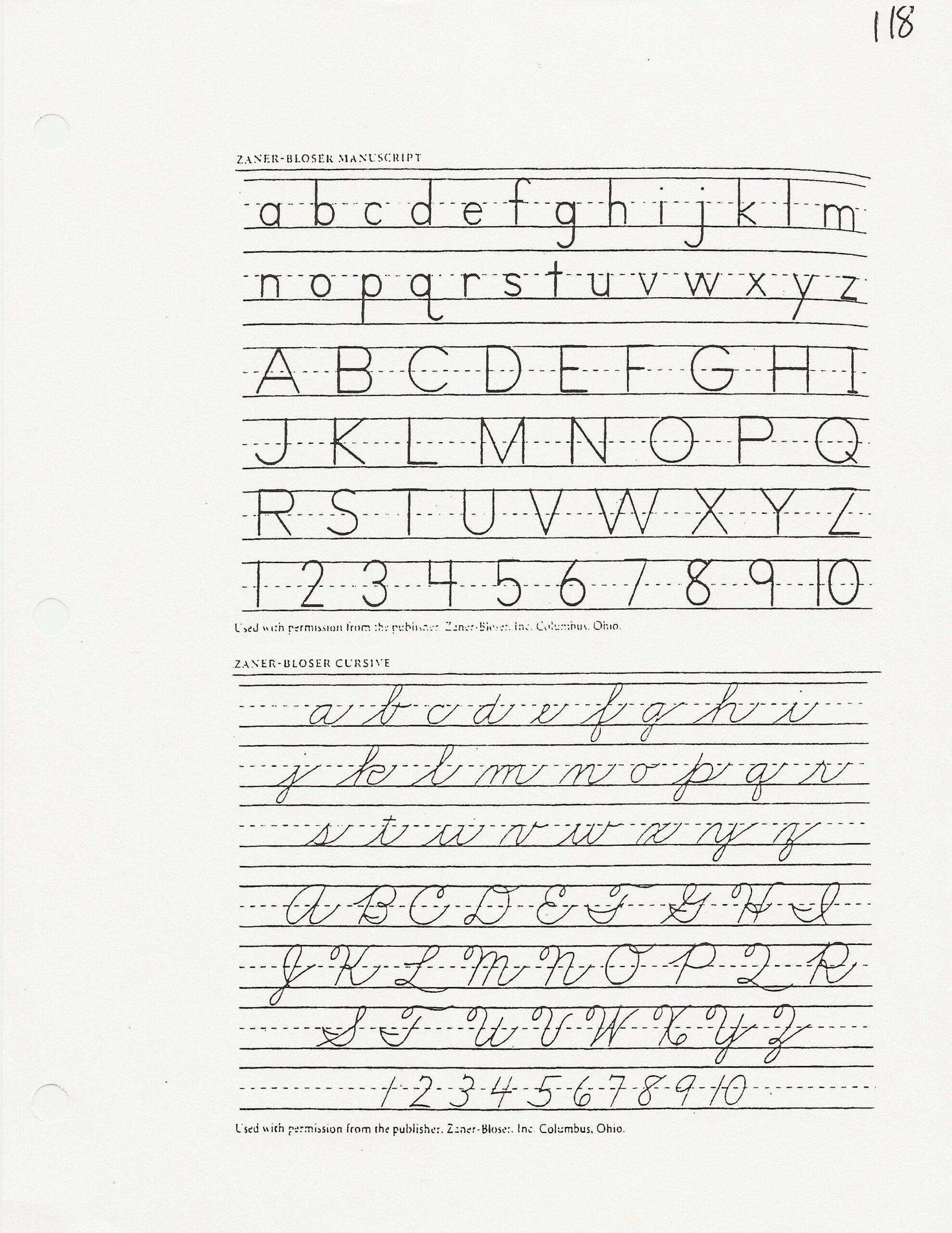 Worksheets : Zaner Bloser Handwriting Paper Huruf Alphabet