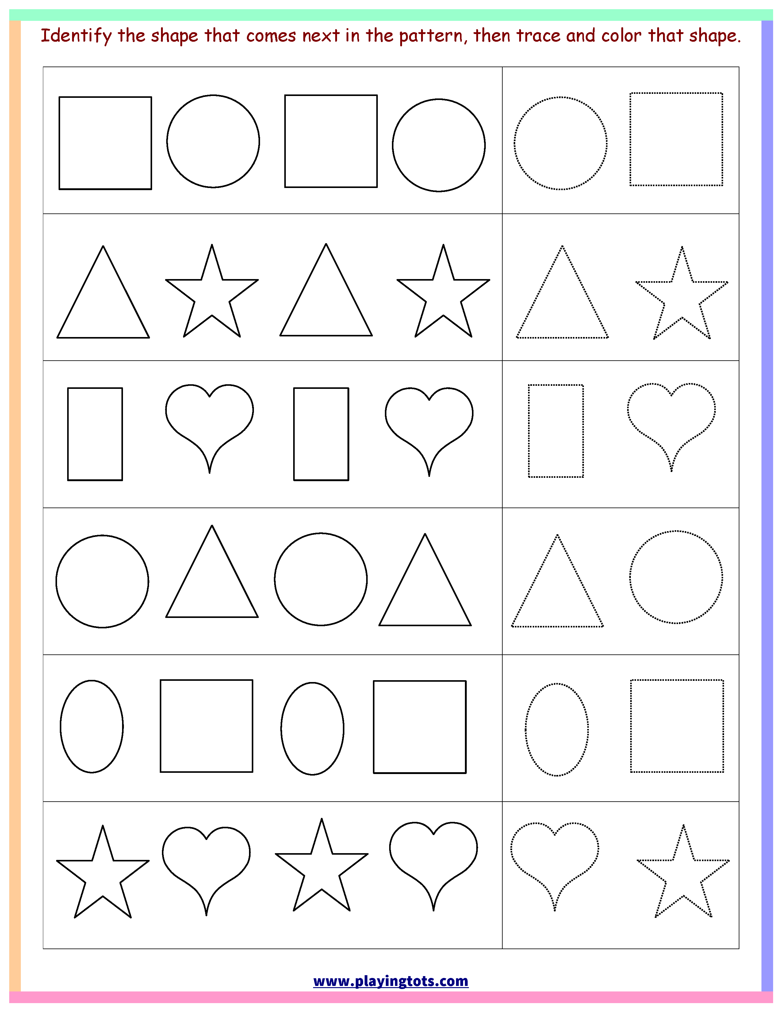 Worksheet,shapes,trace,color,pattern,free,printable,kids