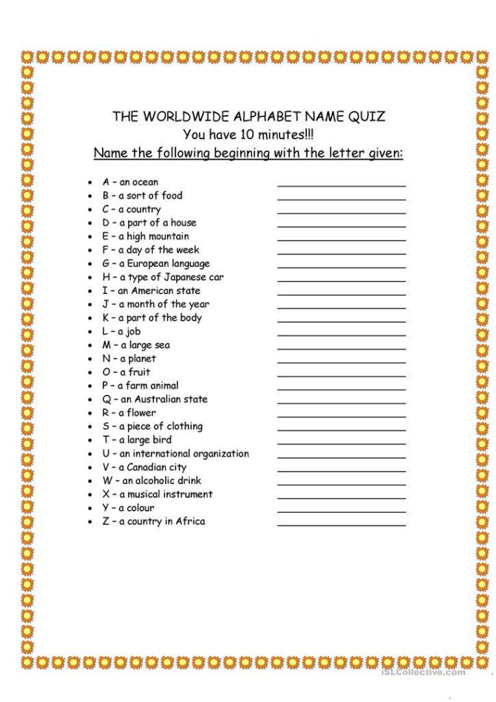 Worldwide Alphabet Quiz   English Esl Worksheets For Pertaining To Alphabet Exam Worksheets