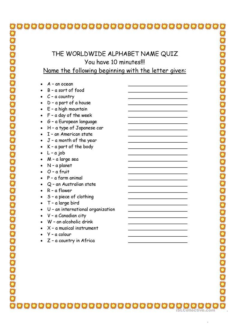 Worldwide Alphabet Quiz - English Esl Worksheets For pertaining to Alphabet Exam Worksheets