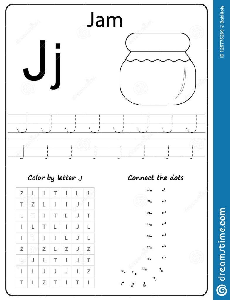 Writing Letter Worksheet Alphabet Exercises Game For Kids Pertaining To Letter J Worksheets For First Grade