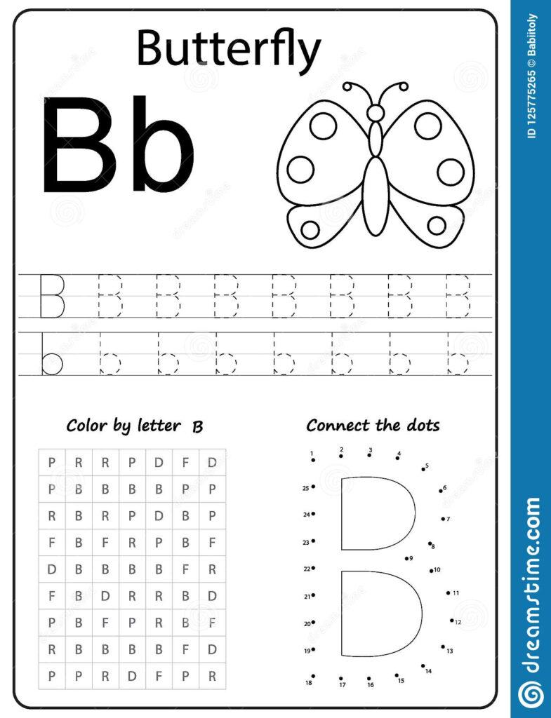 Writing Letter Worksheet Alphabet Exercises Game Kids Task Within Letter B Worksheets For Nursery