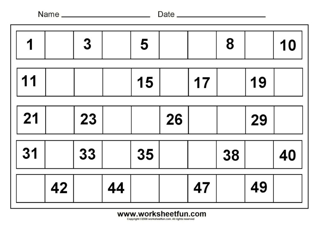 Writing Number 1 50 | Tracing Numbers 1 50 Worksheets | Free