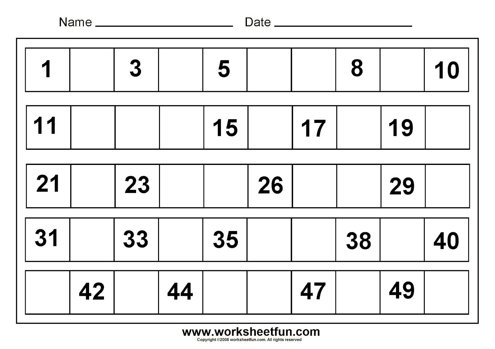 Writing Number 1-50 | Tracing Numbers 1 50 Worksheets | Free