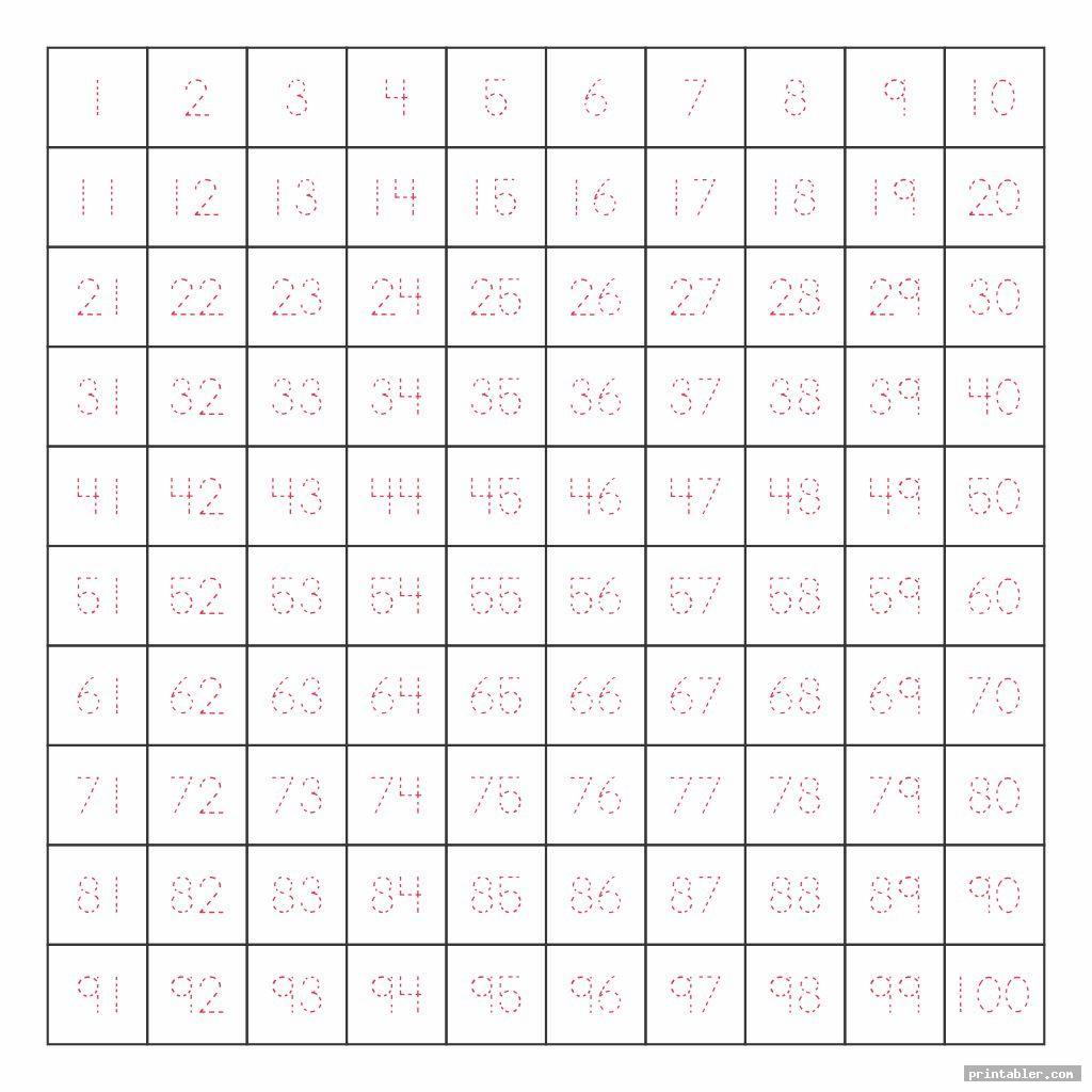 Writing Numbers 1 100 Worksheet Printable | Printable