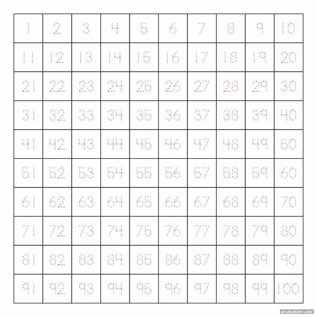 Writing Numbers 1 100 Worksheet Printable   Printable