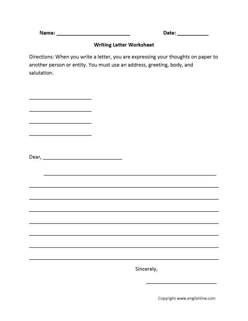 Writing Worksheets | Letter Writing Worksheets Throughout Letter Writing Worksheets For Grade 4