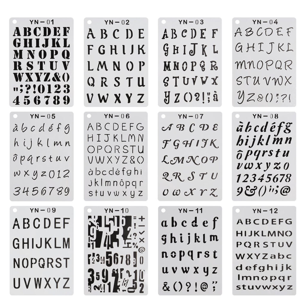 Yueaon 12 Pack Letter And Number Stencils Alphabet Stencil With Regard To Alphabet Tracing Stencils