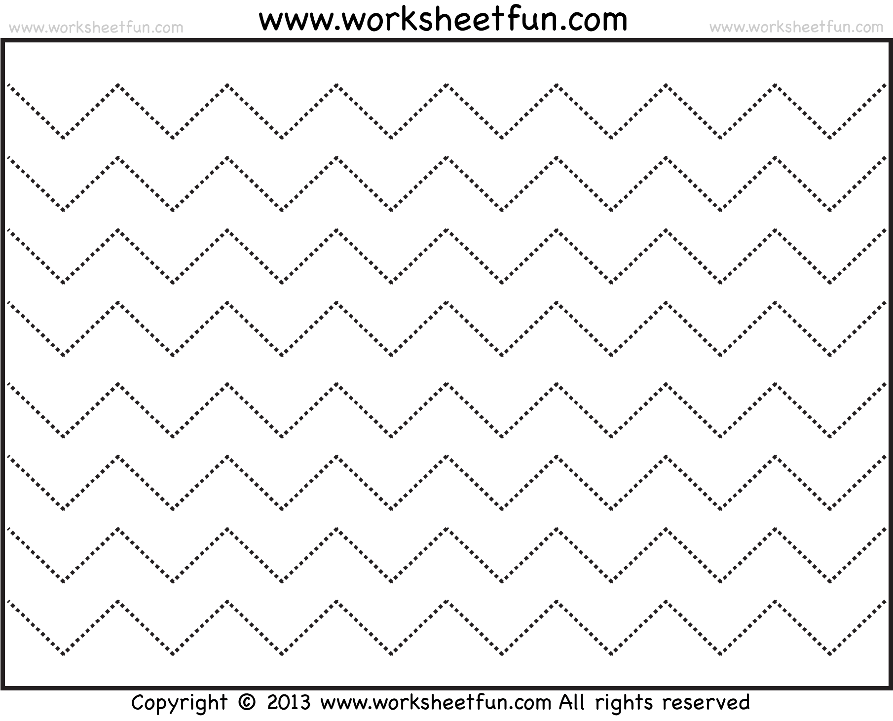 Zig Zag Line Tracing – 7 Worksheets / Free Printable