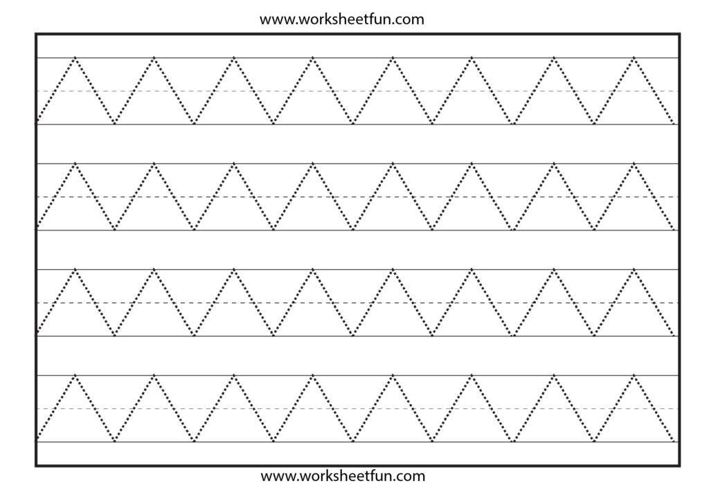Zig Zag Line Tracing – 7 Worksheets | Tracing Worksheets