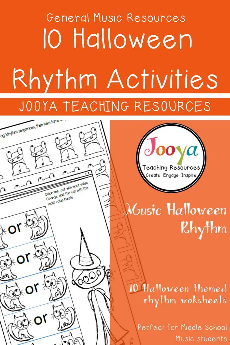 10 Halloween Themed Rhythm Worksheets For The General Music