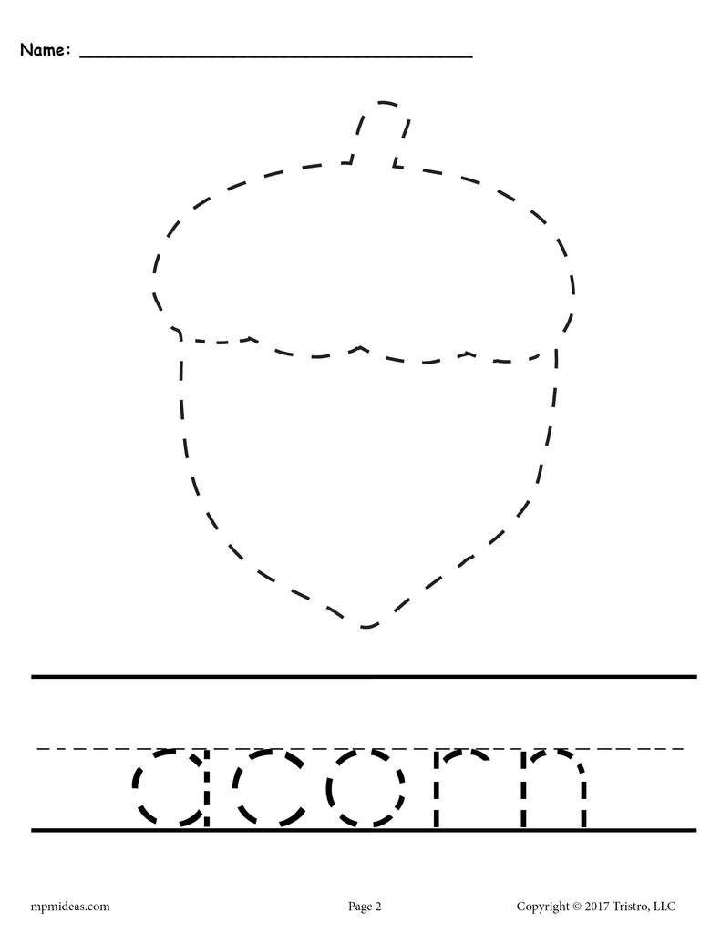 10 Printable Fall Tracing & Handwriting Worksheets