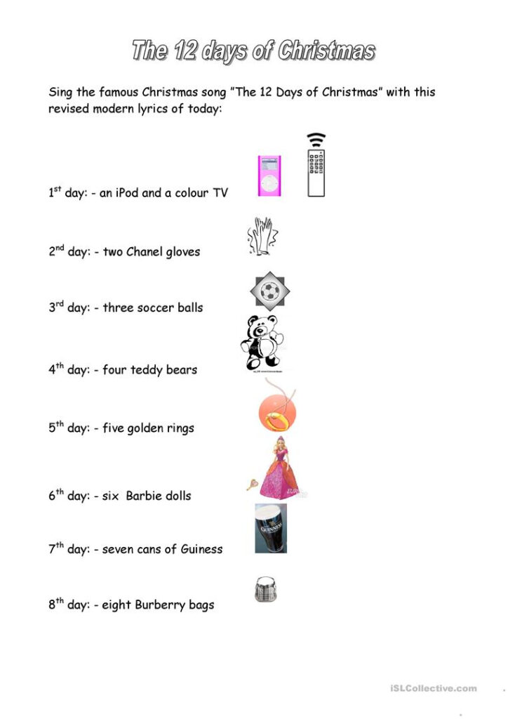 12 Days Of Christmas   English Esl Worksheets For Distance