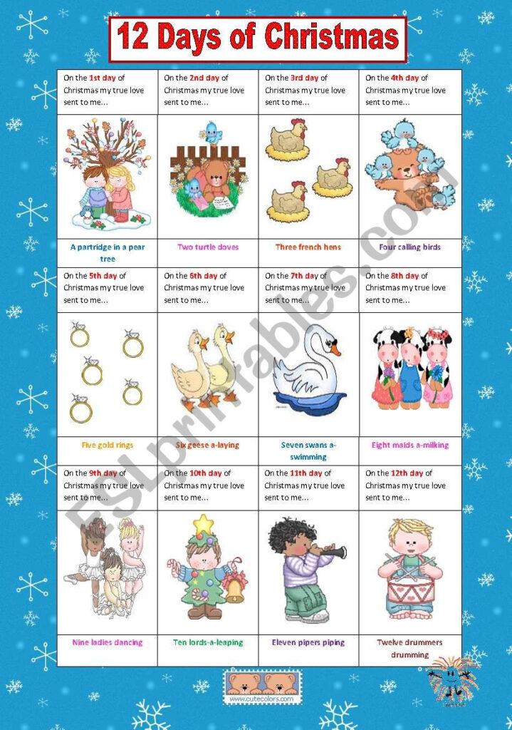 12 Days Of Christmas   Esl Worksheetvanev