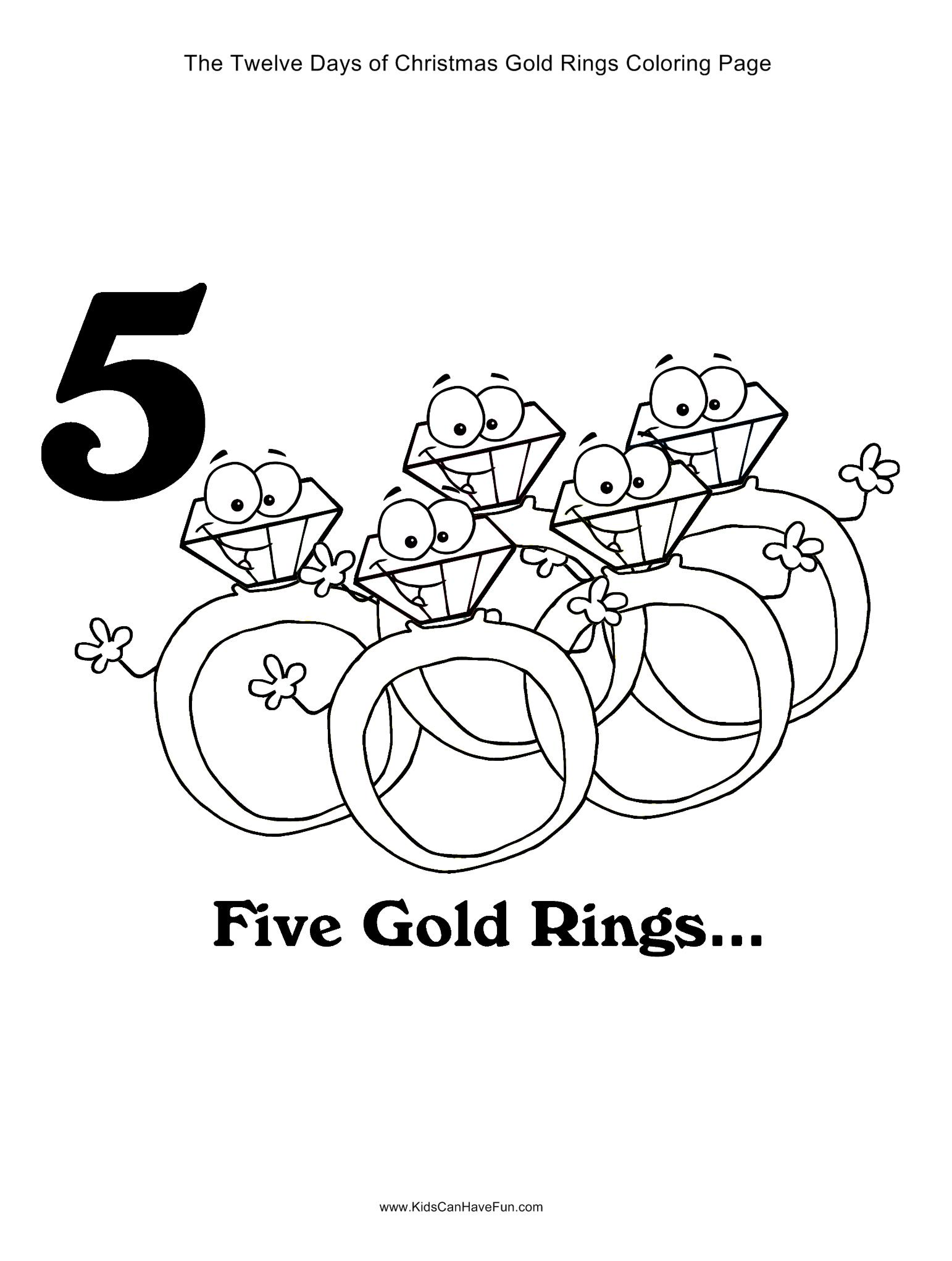 12 Days Of Christmas Five Gold Rings Coloring Page Http