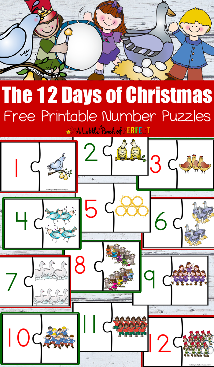 12 Days Of Christmas Free Printable Number Puzzles