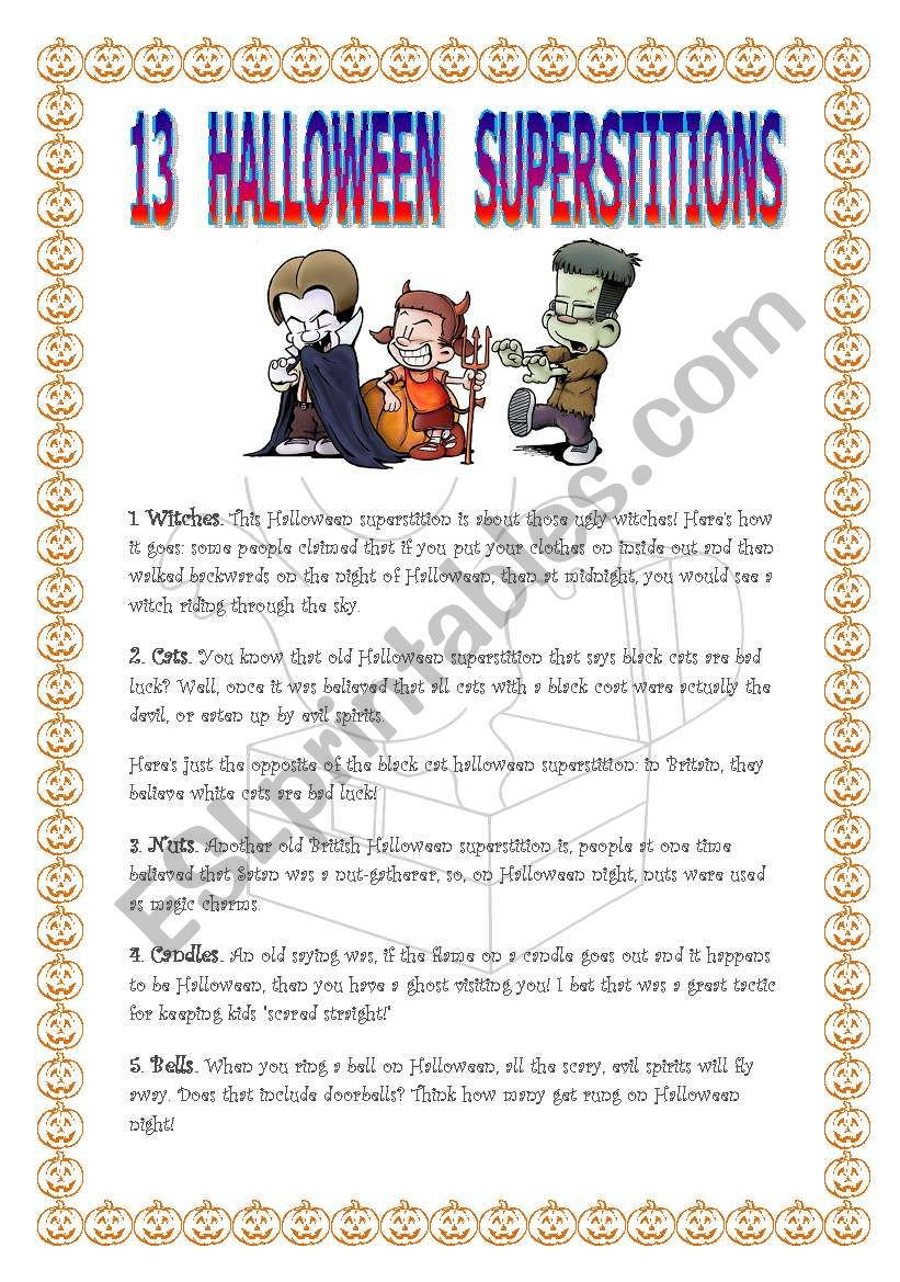 13 Halloween Superstitions - Esl Worksheetvictoria84