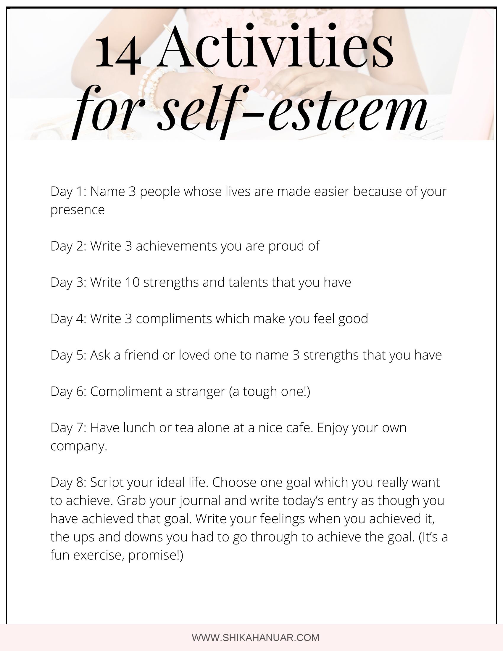 14 Activities To Build Self Esteem And Self Worth In 2020