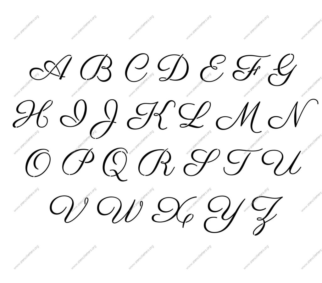 1960S Calligraphy Uppercase & Lowercase Letter Stencils A Z