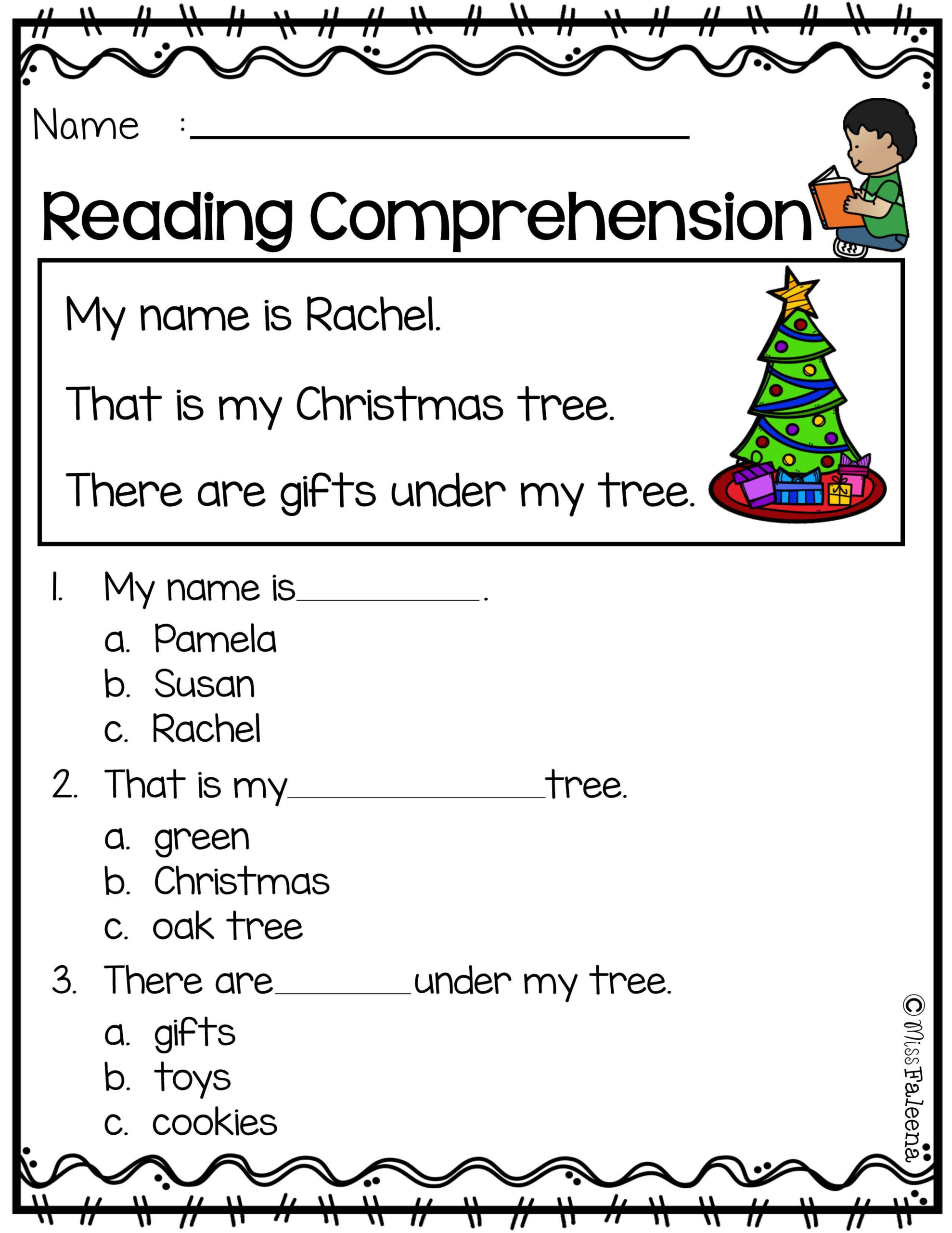 1St Grade Reading Comprehension Worksheets Multiple Choice