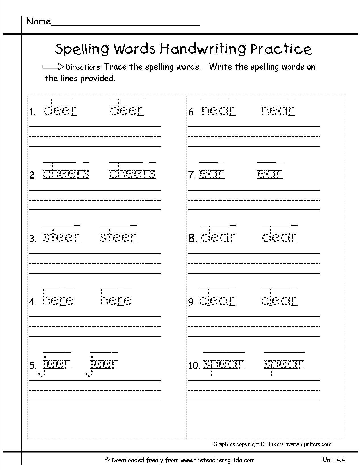 1St Grade Spelling Worksheets For Download Free - Math