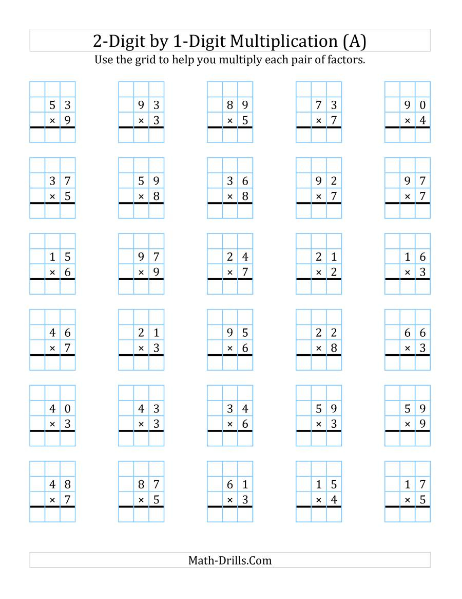 2-Digit1-Digit Multiplication With Grid Support (A)