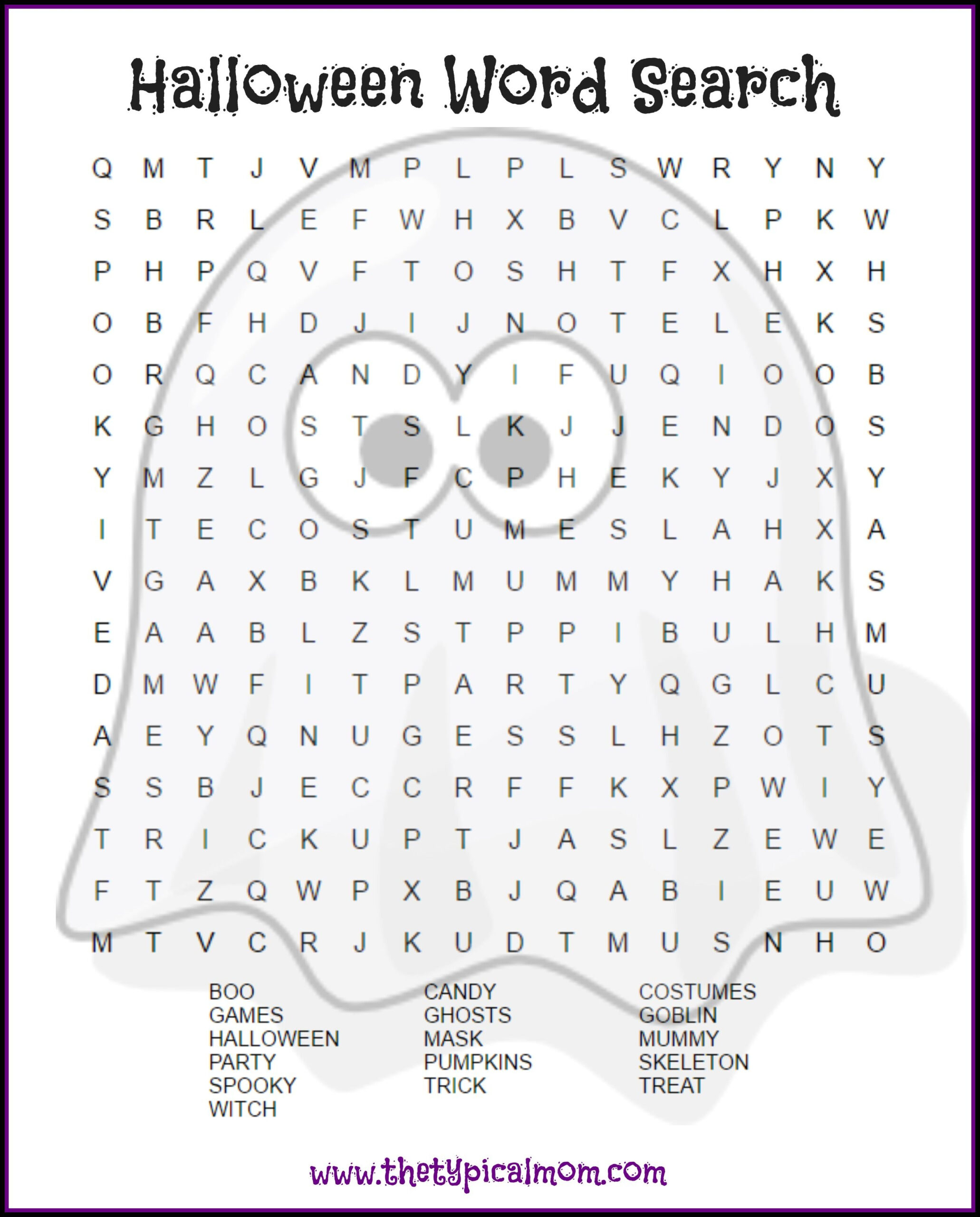 2 Free Halloween Word Search Printable Pages   Halloween