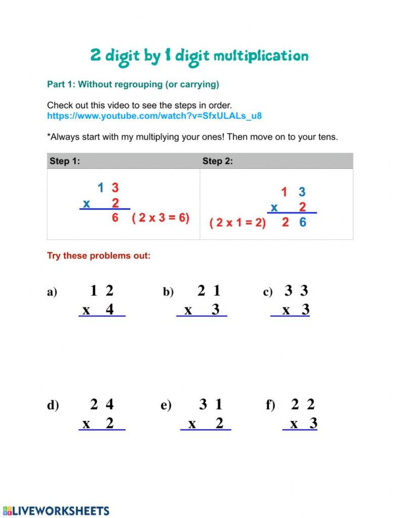21 Digit Multiplication Worksheet