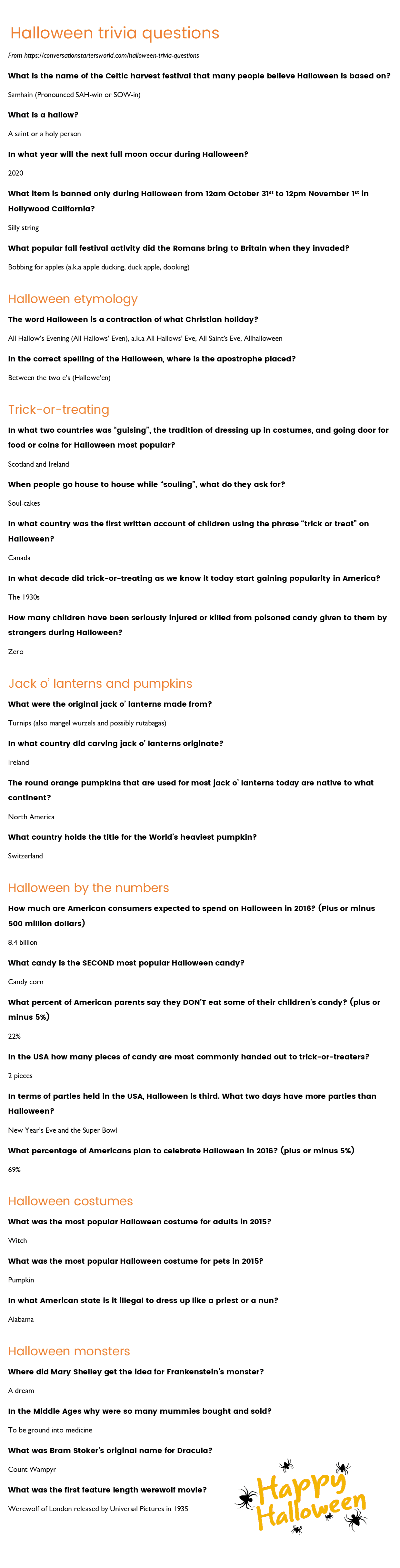 29 Challenging Halloween Trivia Questions - How Many Can You
