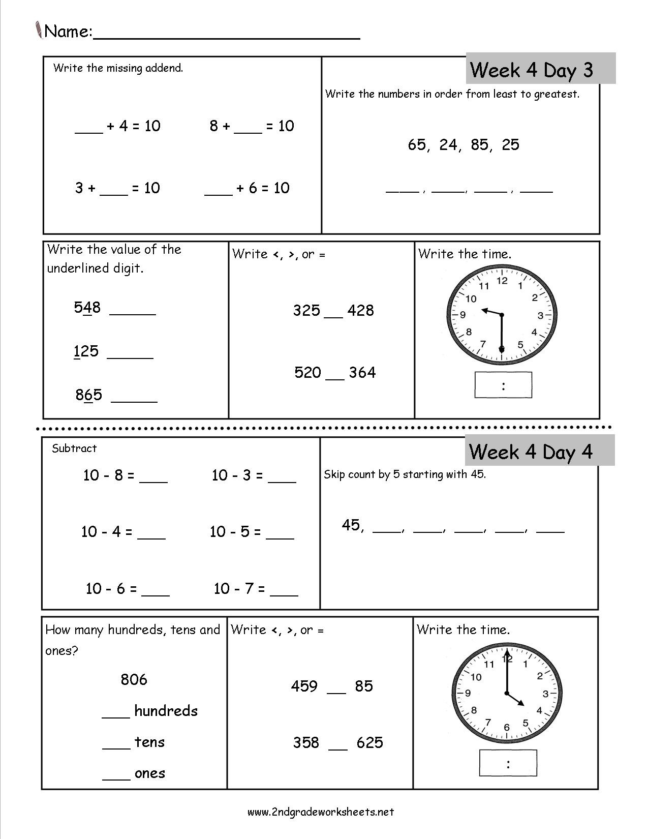 2Nd Grade Daily Math Worksheets 3Rd Review Dailymath