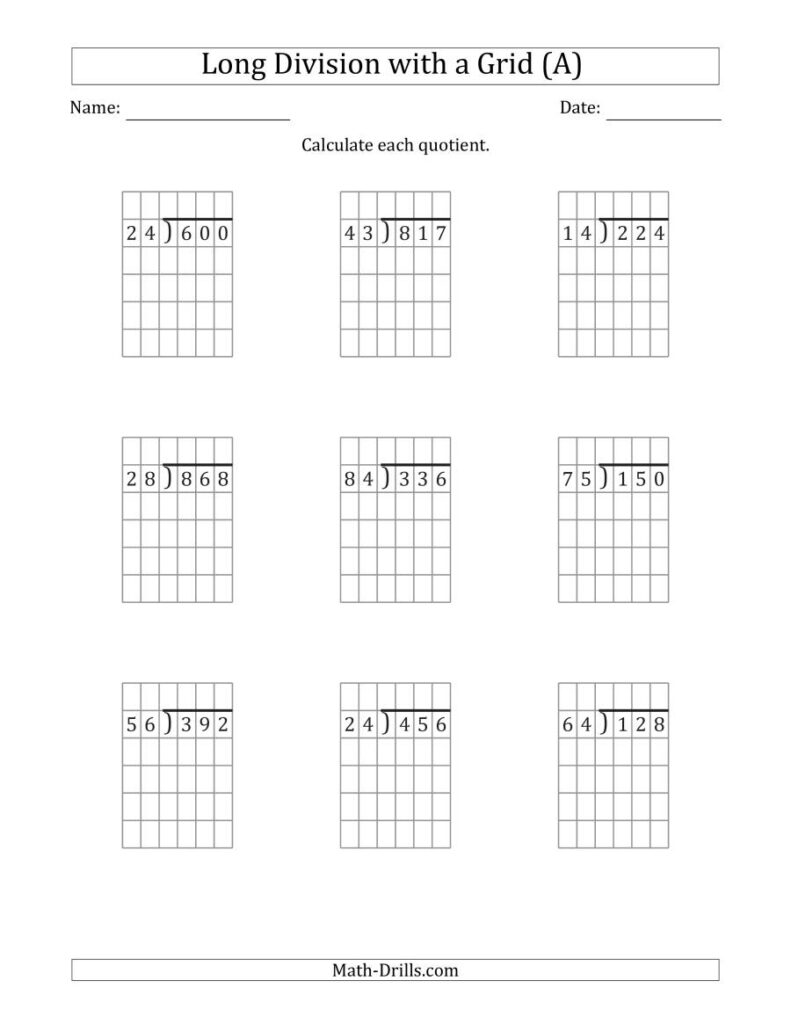 3 Digit2 Digit Long Division With Grid Assistance And No
