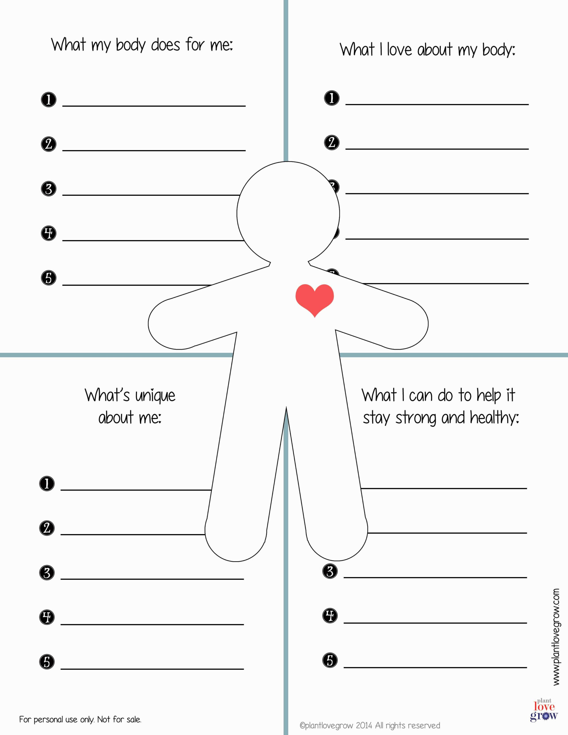 30 Self Esteem Worksheets To Print | Kittybabylove