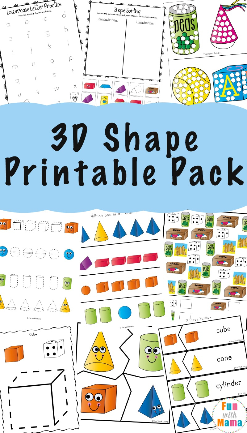 3D Shape Worksheets - Fun With Mama