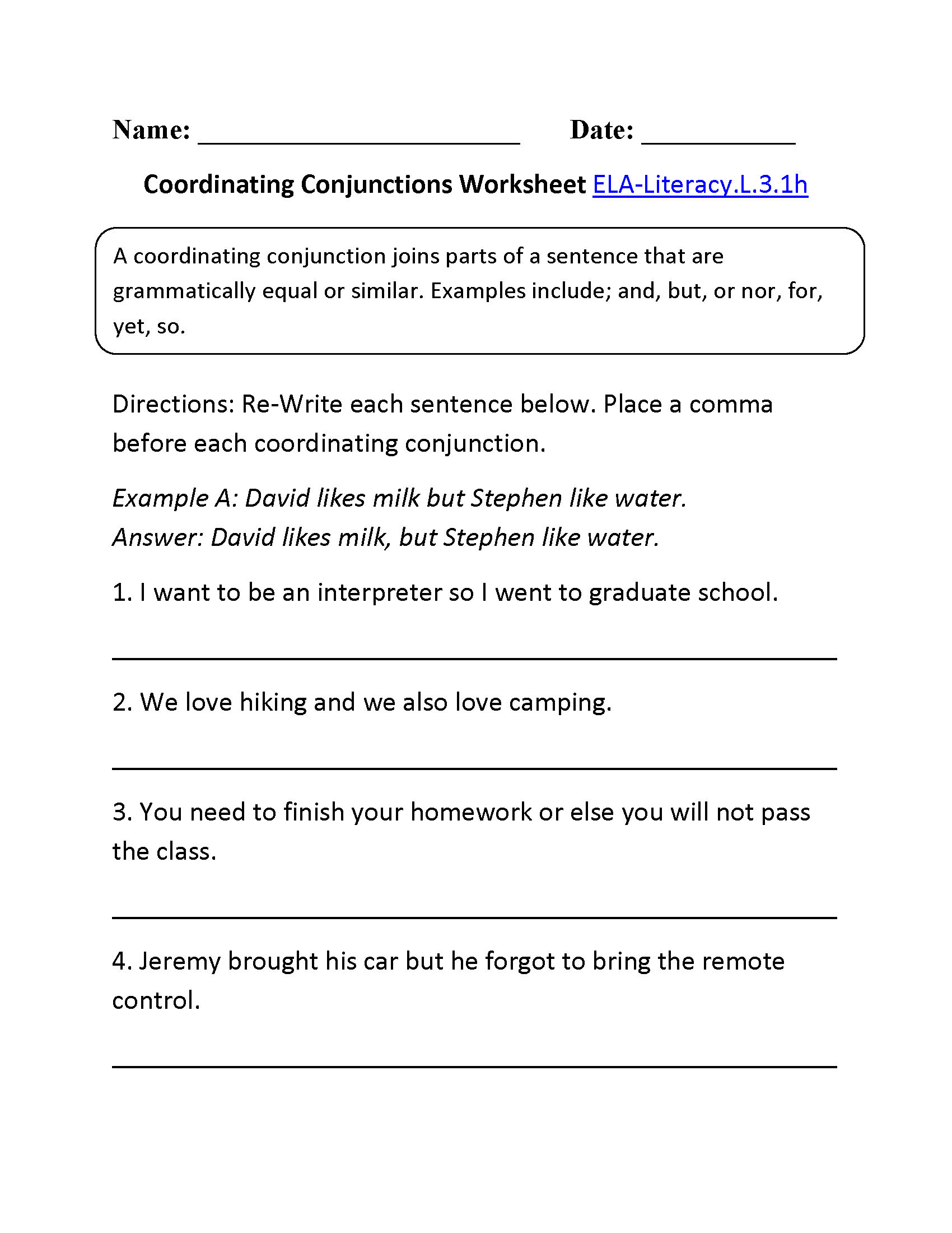 3Rd Grade Common Core | Language Worksheets | Conjunctions