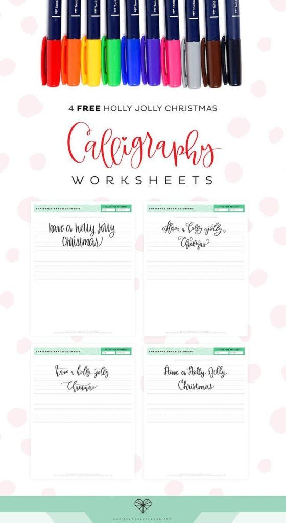 4 Free Christmas Calligraphy Worksheets   Printable Crush