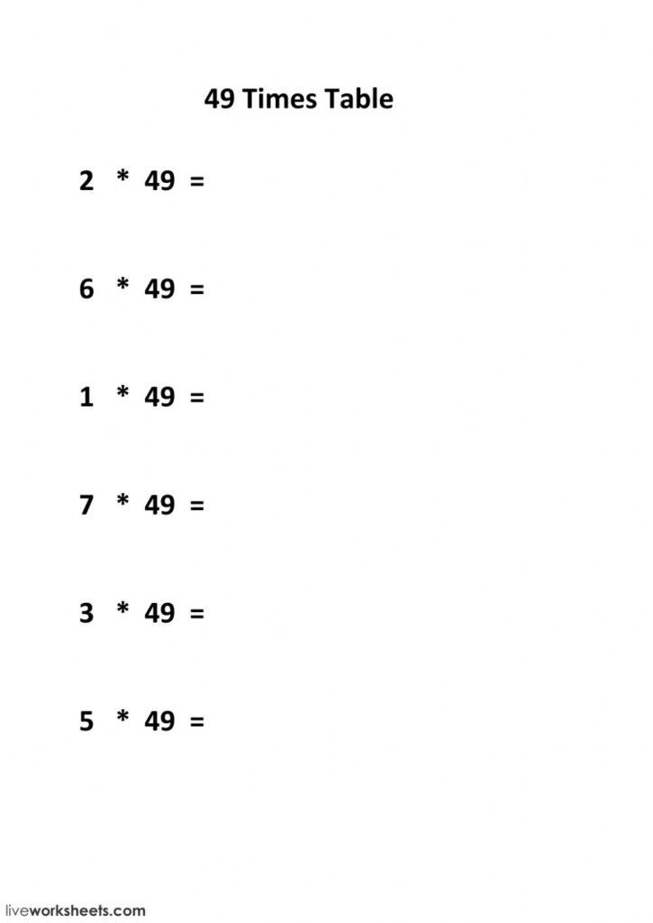 49 Times Table Worksheet