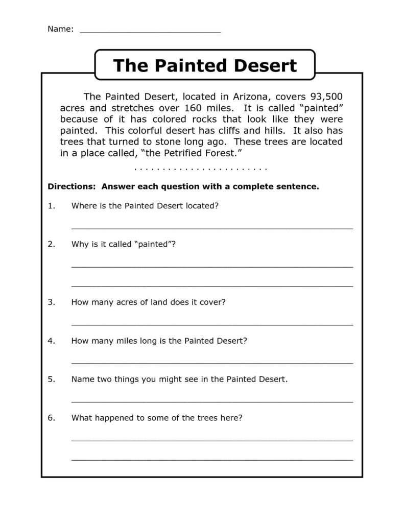 4Th Grade Reading Comprehension Worksheets   Best Coloring