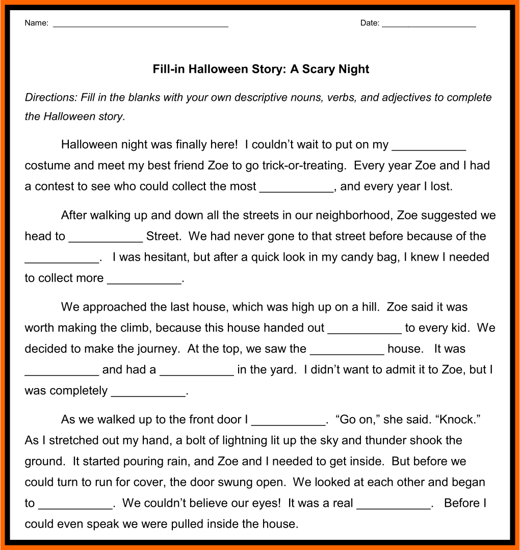 5 Best Halloween Fill In The Blank Stories Printable