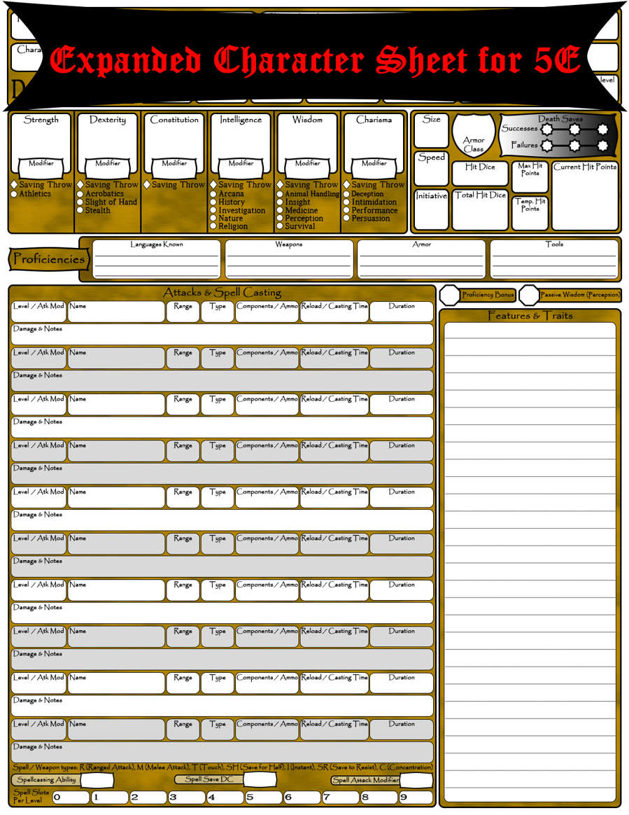 5E Expanded Character Sheet - Dungeon Masters Guild | Dungeon Masters Guild