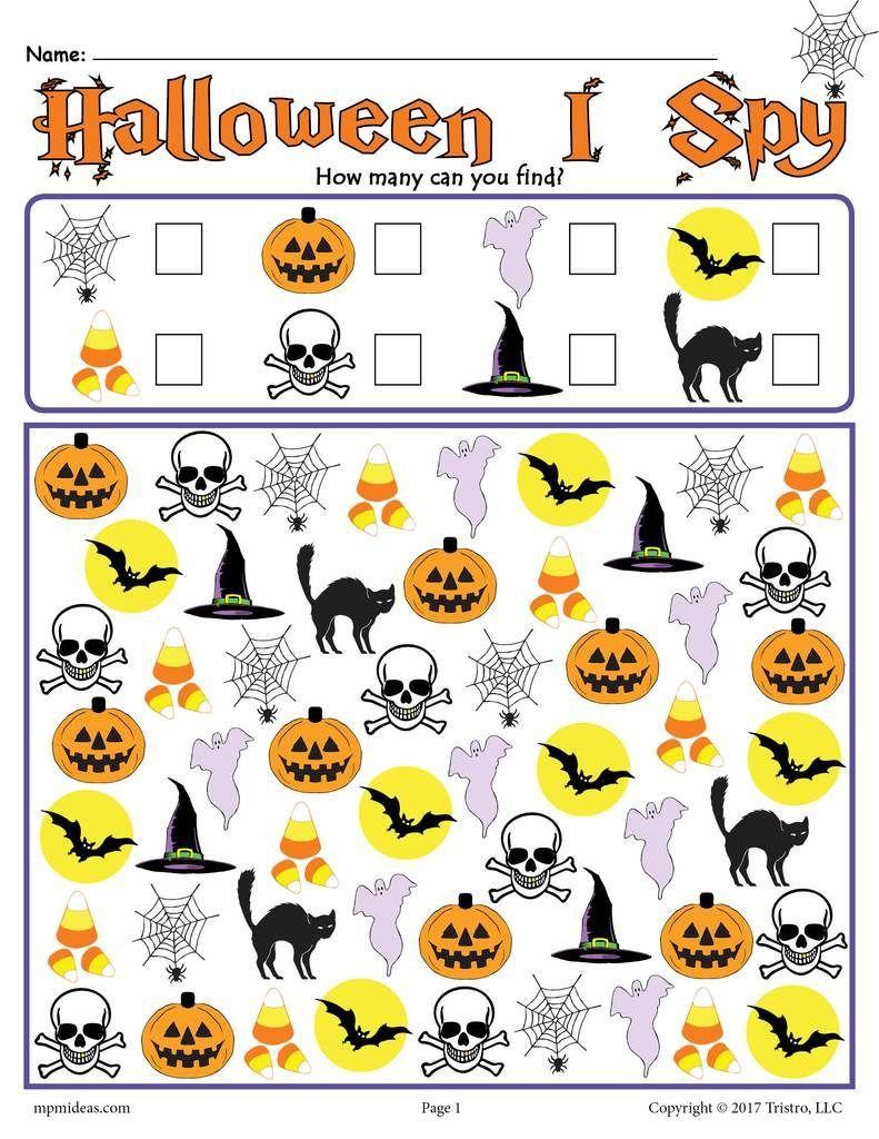 7 I Spy Printable Worksheets In 2020 | Halloween Worksheets