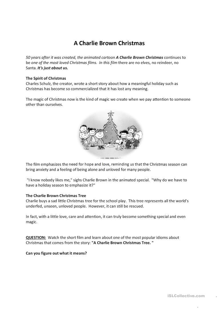 A Charlie Brown Christmas - English Esl Worksheets For